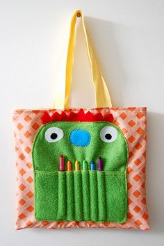 monster art tote by mr. huckleberry & the milosaur