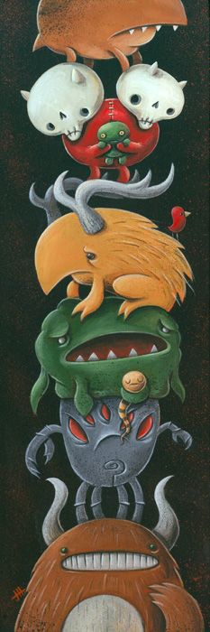 Creature Ladder 2 by Justin Hillgrove. I heart cute monsters.