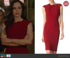 Victoria's red folded detail dress on Revenge.  Outfit Details: http://wornontv.net/39627/ #Revenge