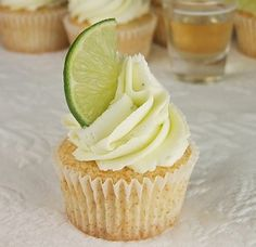 Margarita Cupcakes. First, I would not used bottled margarita mixer - I'd make my own. Secondly, I would make sure the cupcakes were large enough to bake out over the top of the papers so I could roll the edges in sugar, and then frost the middle.