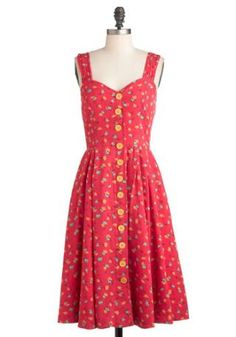 Brunch with Buds Red Dress in Florets