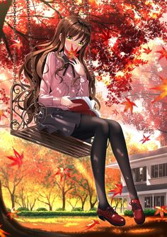 Anime picture with original swordsouls long hair single tall image blush looking at viewer brown hair sitting yellow eyes full body girl dress plant (plants) tree (trees) pantyhose book (books) leaf (leaves) maple leaf swing Fan Art Anime, Anime Artwork, Anime Art Girl, Manga Art, Anime Girls, Anime School Girl, Kawaii Anime Girl, Kawaii Art, Chibi Anime