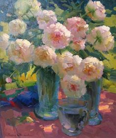 Oil Painting- 'Peonies' by Ovanes Berberian. im simply in love with this man's brain. sigh....