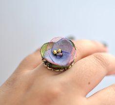 Adjustable Fabric Flower Ring