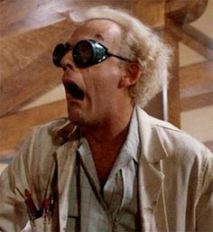 DOC. Emmett Brown, at your service.  Greatest character expression in movie ever!