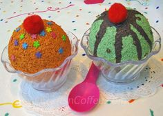 A cute and easy craft idea for kids -- faux ice cream sundaes made with balls of Styrofoam and paint. Easy! - faux ice cream sundaes made wi...