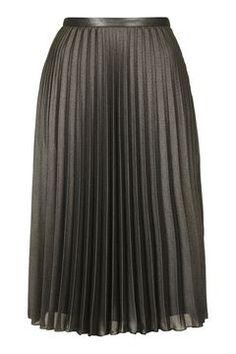 Metallic Pleat Midi Skirt