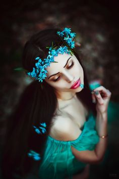 Aqua Blue Floral Crown and Beautiful Turquoise Dress • Photograph by Светлана Беляева on 500px