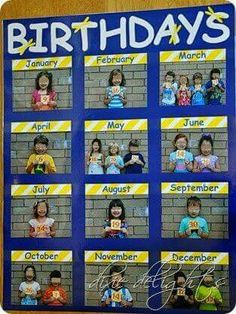 Education/Kindergarten/Preschool Classroom Birthday Picture Chart Free Printable How To Choose The R Classroom Organisation, Classroom Displays, Daycare Organization, Teacher Storage, Daycare Setup, Daycare Ideas, Beginning Of School, New School Year, Middle School