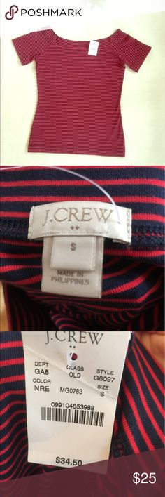J.Crew off the shoulder fitted top New with tags. Red & Navy Striped. Size Small. J. Crew Tops Blouses