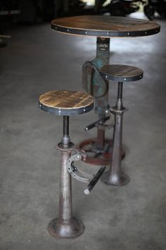 Items similar to Reclaimed steel and wood bar stools on Etsy