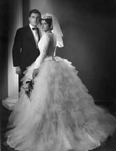 Lady Marmalaide loves this... Vintage Bride and Groom Photo circa 1955 - look at that dress!