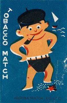 Japanese vintage matchbox label