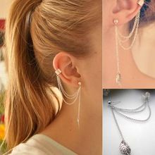 2pcs Mulheres Moda Cadeia Folha legal Jóias Tassel Ear Cuff Dangle Enrole Brinco Hot(China (Mainland))