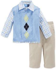 Good Lad Baby Boys' 3-Piece Sweater Vest, Plaid Shirt & Pants Set