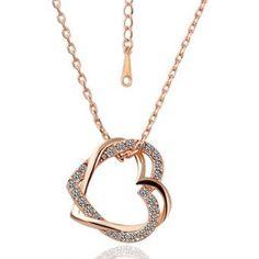 Moda cristal blanco oro rosa chapado corazón micro pave para collar cadena  para…