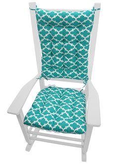 Fulton Ogee Aqua Porch Rocker Cushions   Latex Foam Fill   Fade Resistant