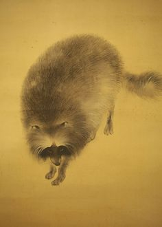 "Japanese Hanging Scroll ""Moon and Raccoon Dog""  @k195"