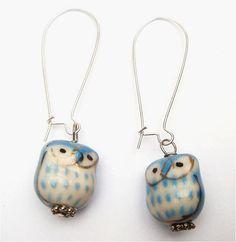 Silver Plated Brass Porcelain Owl Earrings