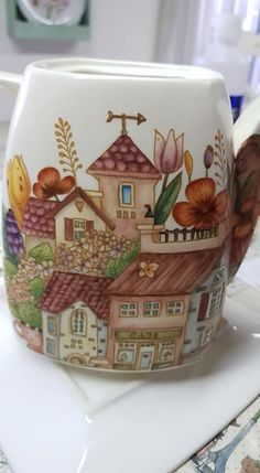China Painting, Foot Tattoos, Decoupage, Knit Crochet, Cups, Pottery, Hand Painted, Plates, Knitting