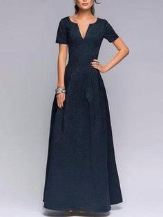 Women Navy Blue V Cut Elegant Maxi Dress 10.99