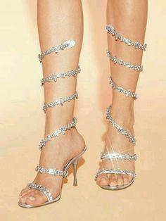 Sparkling ankle-spiral heels