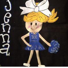 Cheerleader monogrammed dance bag, hand painted canvas bag
