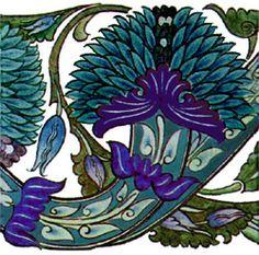 blue peony tile by William de Morgan