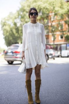 Peasant dress with high tan boots Street style: the best dressed women at the men's spring/summer '16 shows: