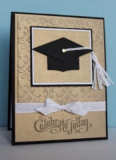 handmade Graduation card ... clean and simple design ... mortar board hat with a real tassel  ... Stampin' Up!