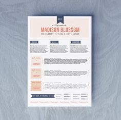 Word .Doc Resume CV Design  Cover Letter Template by OddBitsStudio, €13.34
