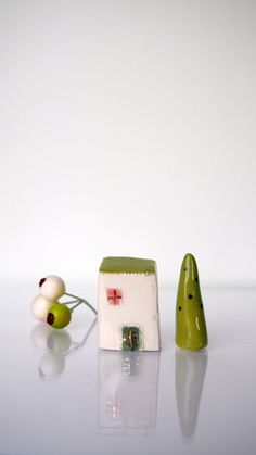 Miniature House Handmade ceramics white by VitezArtGlassDesign