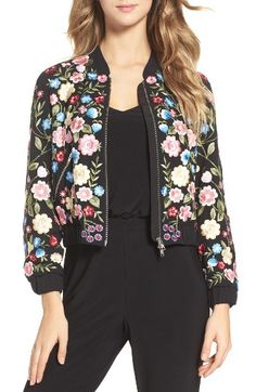 Free shipping and returns on Needle & Thread Flower Foliage Embroidered Bomber Jacket at Nordstrom.com. Intricate floral embroidery and beadwork dynamically contrast the sporty silhouette of this bomber jacket for a fresh look.