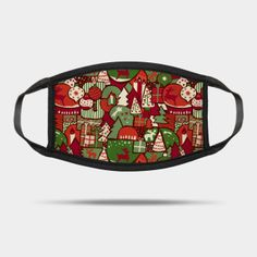 Masks by Sandra Hutter Designs   TeePublic Face Masks, Christmas Time, Sunglasses Case, Red And White, Green, Design, Facials