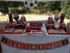 Western Sydney Wanderers theme candy buffet for my sons 7th Birthday, Birthday Cake, Soccer Party, Candy Buffet, Cake Ideas, Wander, Westerns, Sydney, Sons