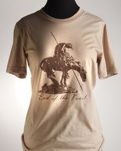 DESIGNED & PRINTED IN OKLAHOMA! Super soft tee with the End of the Trail on the front and National Cowboy Museum logo on the back. - T-Shirts - National Cowboy Museum