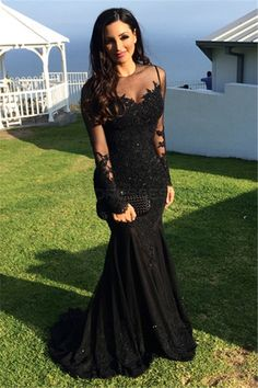 Long Black Mermaid Illusion Neckline Lace Long Sleeves Prom Dresses Party Evening Gowns 3020247