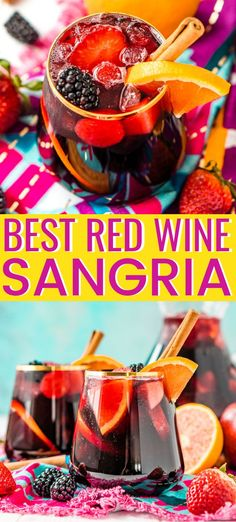 Red Wine Sangria isn't overly sweet and is a delicious big batch cocktail the whole party will love! This Red Sangria Recipe is made with a mix of r. Red Sangria Recipes, Red Wine Sangria, Wine Recipes, Sangria Drink, Sangria Cocktail, Best Sangria Recipe With Brandy, Recipe With Red Wine, The Best Red Sangria Recipe, Brandy Sangria