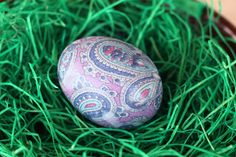 Tie dyed Easter egg decorating idea using old silk ties - we've done it, and it comes out amazing.