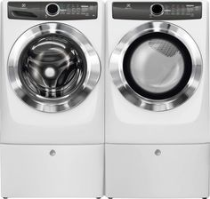"Electrolux 27"" Washer, Electric Dryer & Pedestals, EFLS517SIW & EFMG517SIW White"