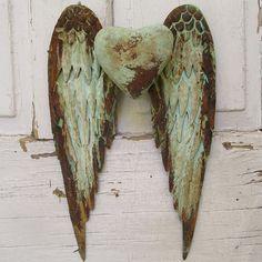 Metal Angel Wings Wall Decor metal angel wings with heart wall decor | angel wings, antique