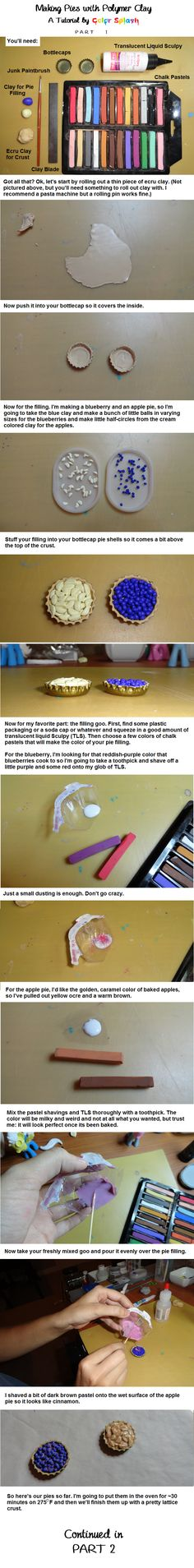 Polymer Clay Pie Tutorial PART 1 by Colour-Splashes.deviantart.com on @deviantART