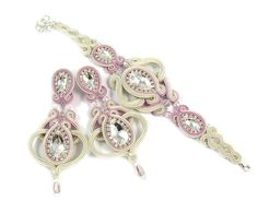 Bridal long openwork soutache jewelry set with by byPiLLowDesign