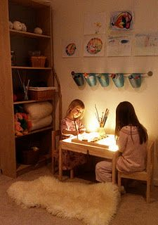 ART space: Watercolor painting and light table! Watercolor Painting and a Light Table- for Malachi's mini studio/school space. Play Spaces, Learning Spaces, Kid Spaces, Space Kids, Home Childcare, Home Daycare, Daycare Forms, Reggio Classroom, Classroom Decor