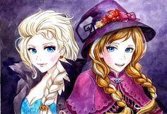 wlfgrrl: Elsa and Anna Helloween by AnALIBI (via baku-babe) Disney Princess Frozen, Elsa Frozen, Princess Zelda, Princess Anna, Disney Princesses, Disney Marvel, Disney Pixar, Frozen Drawings, Frozen Fan Art