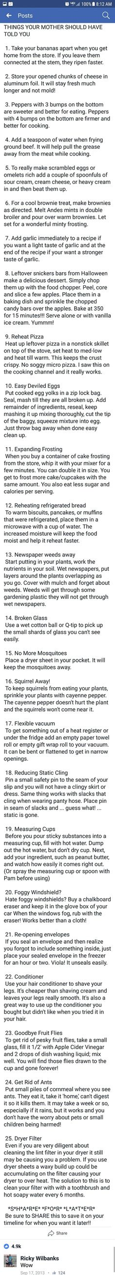 Life hacks for cooking and home.