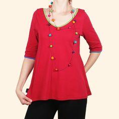 Camiseta roja de algodón de cuello pico con bordes de colores #Verano