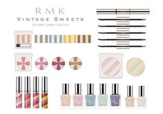 RMK Vintage Sweets Spring 2015 Collection – Beauty Trends and Latest Makeup Collections Nail Trends, Makeup Trends, Beauty Trends, Vintage Sweets, Vintage Candy, Spring Color Palette, Spring Colors, Cosmetics News, Latest Makeup