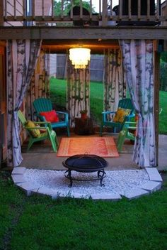 under the deck. Love this! Even though I don't have a deck