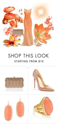 """Orange ball"" by sarahguo ❤ liked on Polyvore featuring Accessorize, Christian Louboutin, Kendra Scott and Kenneth Jay Lane"